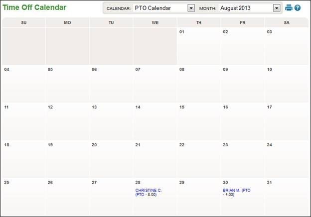 Schedules - Time-Off Calendar with Calendar  With Time Photo