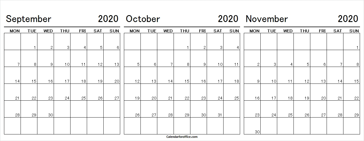 September October November 2020 Calendar Weekdays Only in Calendar With Only Weekdays