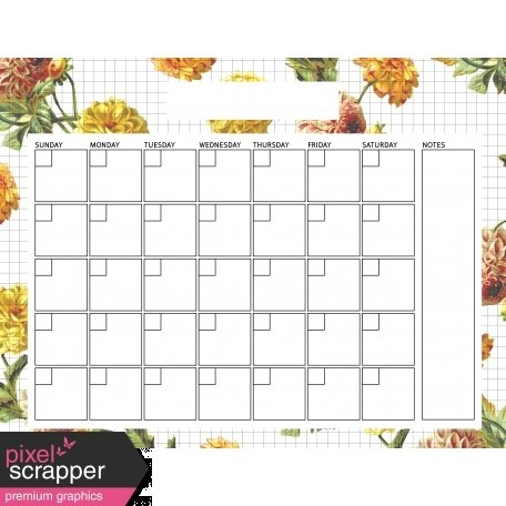 Seriously Floral 2 Calendars - May Floral Calendar 8X11 inside 8X11 Blank Month Template Graphics
