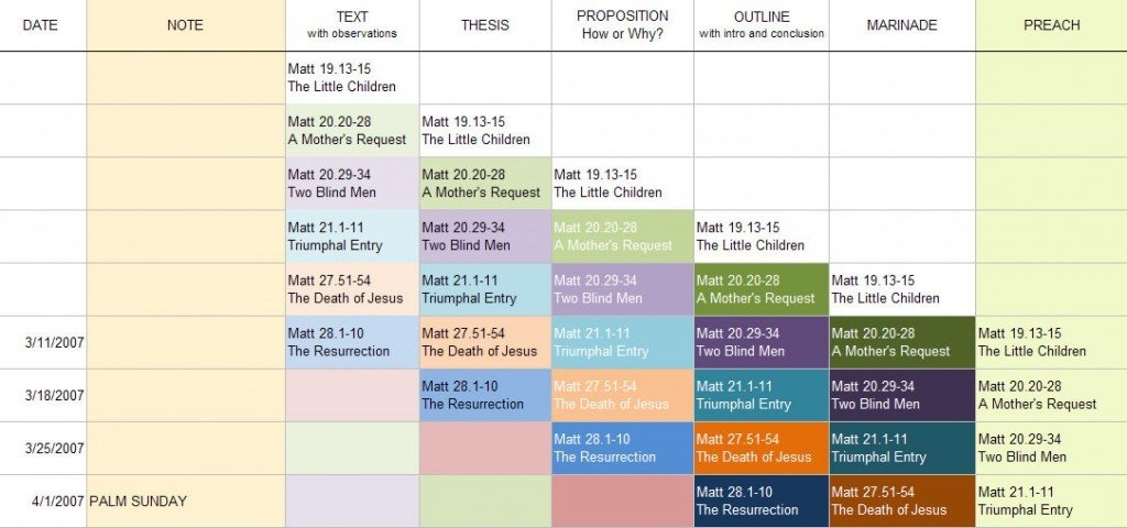 Sermon Preparation Worksheet | Sermon Plannning inside Preaching Schedule Template Photo