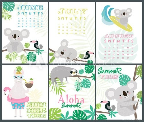 Set Of Fun Aloha Posters And Summer Month Calendar With pertaining to Baby Birthday Calendar Graphics