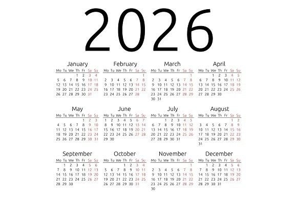 Simple Calendar 2026, Monday | Calendar Template, Printable for Free Calendar Templates Printable 11In By 17 In Graphics