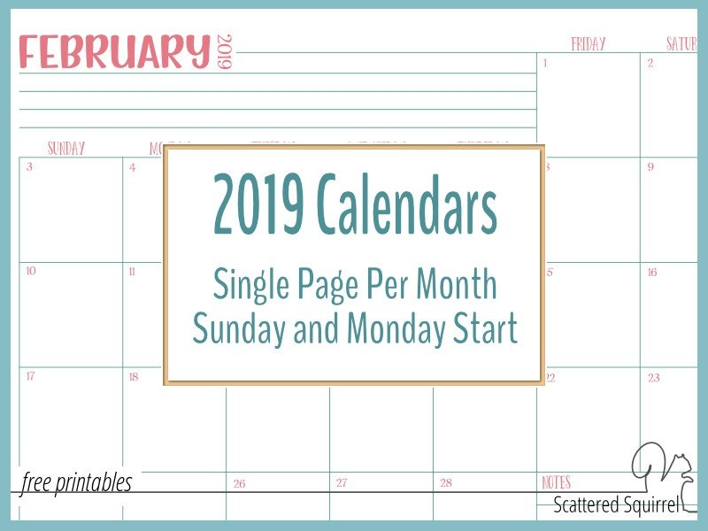 Single Page, Dated 2019 Calendars With Sunday And Monday Starts! pertaining to Single Page Single Day Calendar