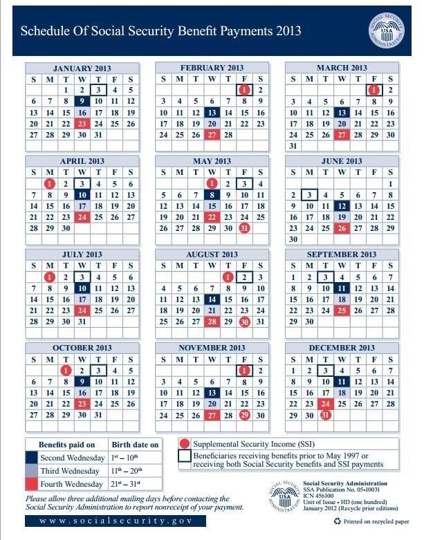 Social Security Benefits Calendar 2012 | Social Security in Social Security Disability Payment Schedule Calendar