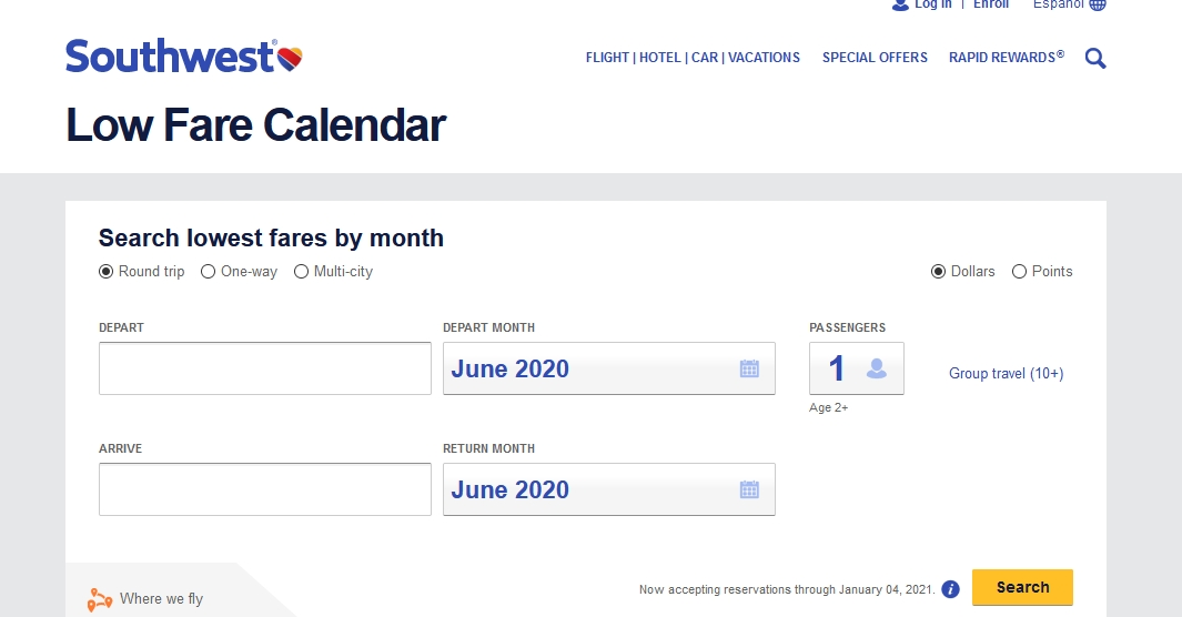 Southwest Airlines Low Fare Calendar 2020 1-888-526-9336 throughout Swa Low Fare Calendar Graphics