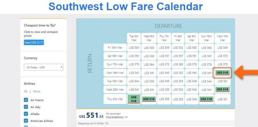 Southwest Airlines Low-Fare Calendar | Low Fare Calculator with regard to Swa Low Fare Calendar Graphics