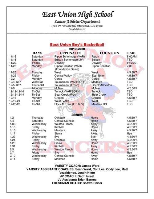 Sports Schedules / Winter Sports Schedule in Manteca Usd Academic Calendar Image