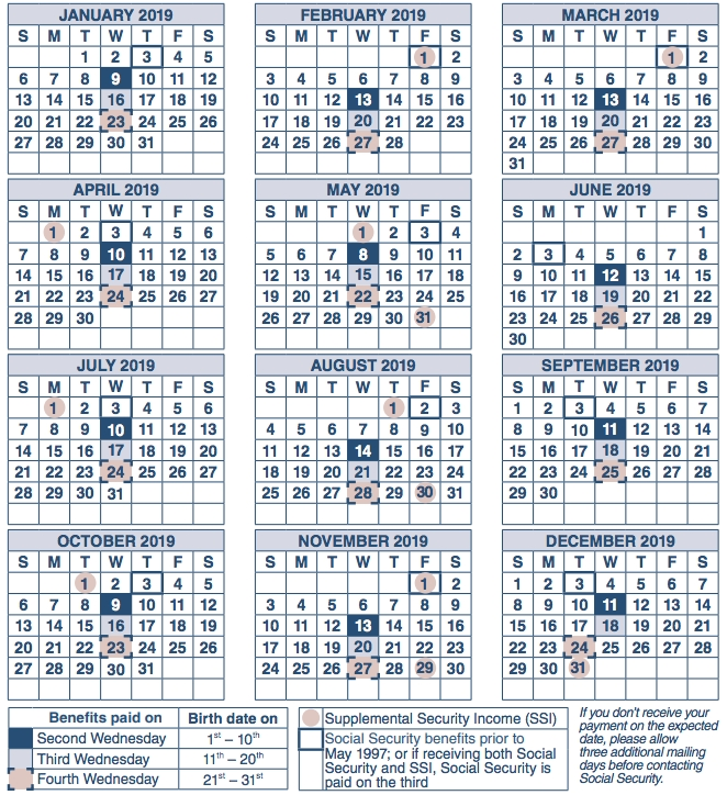 Ssi Payments Calendar 2019 Pdf Images File Printable | Batch in Ssi Benefits Schedule