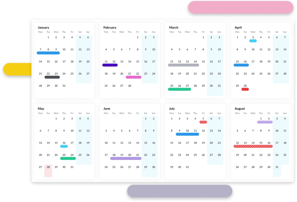 Staff Leave Planner Software | Leave Management System with regard to Online Vacation Calendar Free Graphics