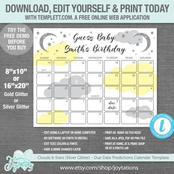 Stars And Clouds Due Date Predictions Calendar Template in Free Printable Baby Prediction Calendar Graphics
