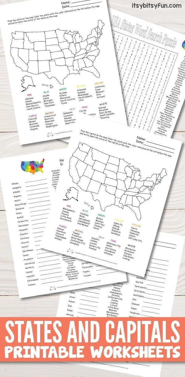 States And Capitals Worksheets - Itsybitsyfun intended for Itsy Bitsy Fun Calendar