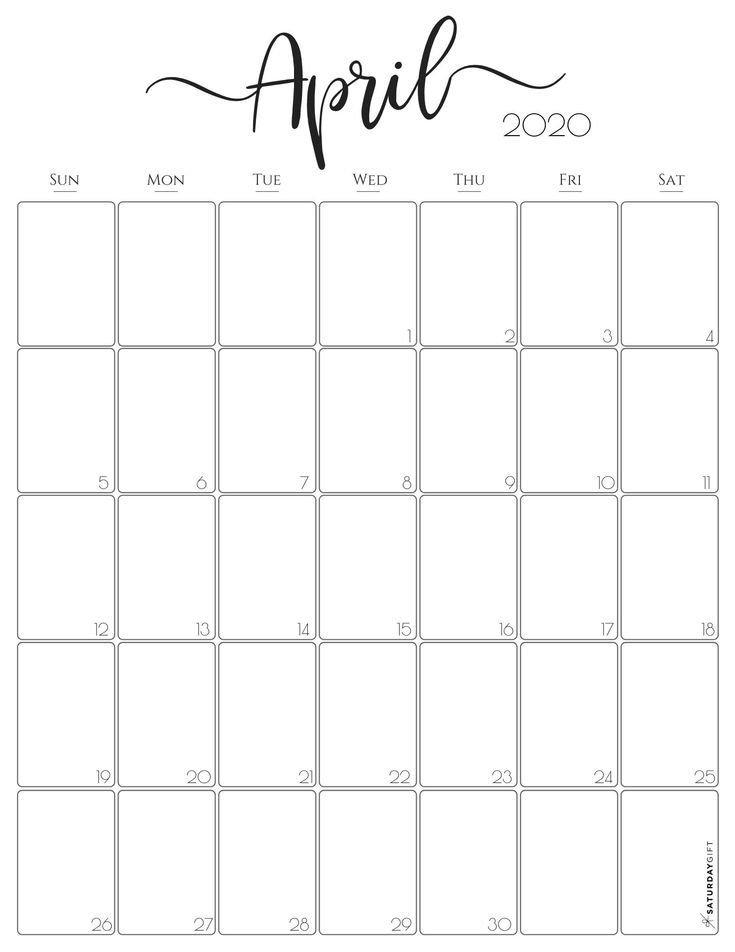 Stylish Vertical 2020 Monthly Calendar. {Free Printables} In with Printable Monthly Calendar 2020