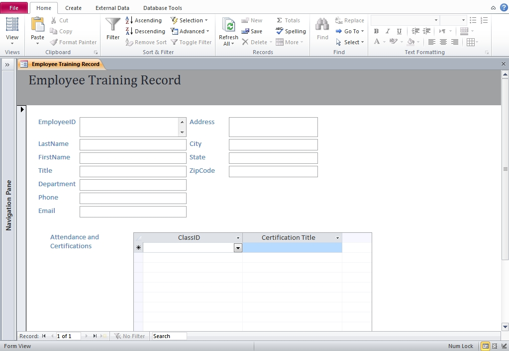 Template | Formats | Form | Download Free: Microsoft Access regarding Microsoft Access Attendance Template