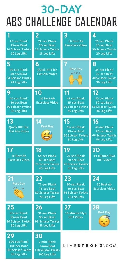The 30-Day Abs Challenge | 30 Day Ab Challenge, Abs throughout Ab Challenge Calendar Printable Image