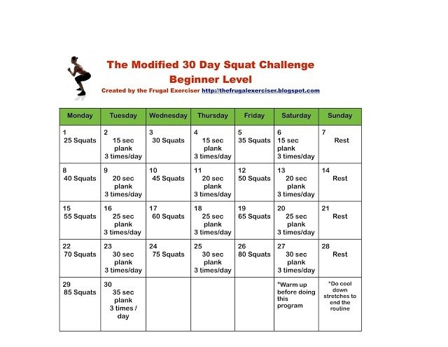 The 30 Day Squat Challenge For Beginners for 30 Day Squat Challenge Printable