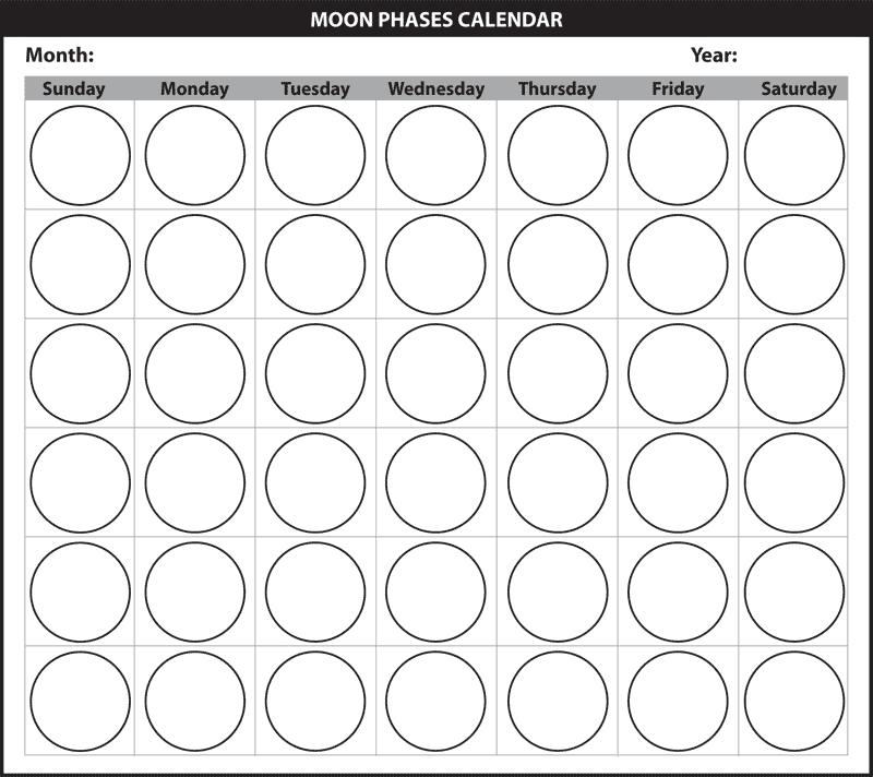 The Moon in Moon Observation Calendar Worksheet