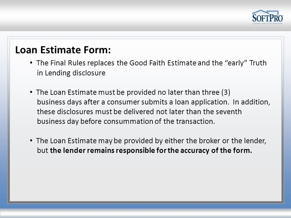 The Softpro Solution. The Final Rule Patrick Hempen Softpro within 3 Day Rule For Closing Disclosure Graphics
