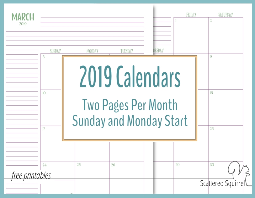 The Two Pages Per Month 2019 Calendars Are Ready pertaining to Free Printable Calendar With Extra Large Blocks Graphics