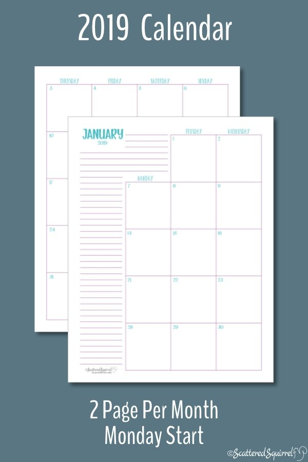 The Two Pages Per Month 2019 Calendars Are Ready throughout Scattered Squirrel 2 Page Month Happy Planner Graphics
