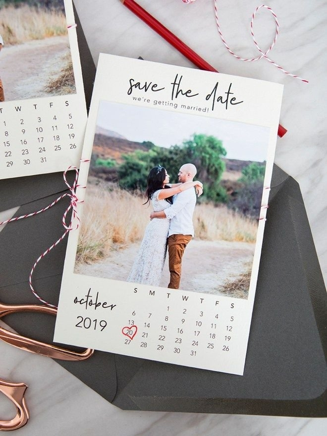"These Free Printable ""calendar Style"" Photo Save The Dates pertaining to Save The Date Printable Calendar Templates"