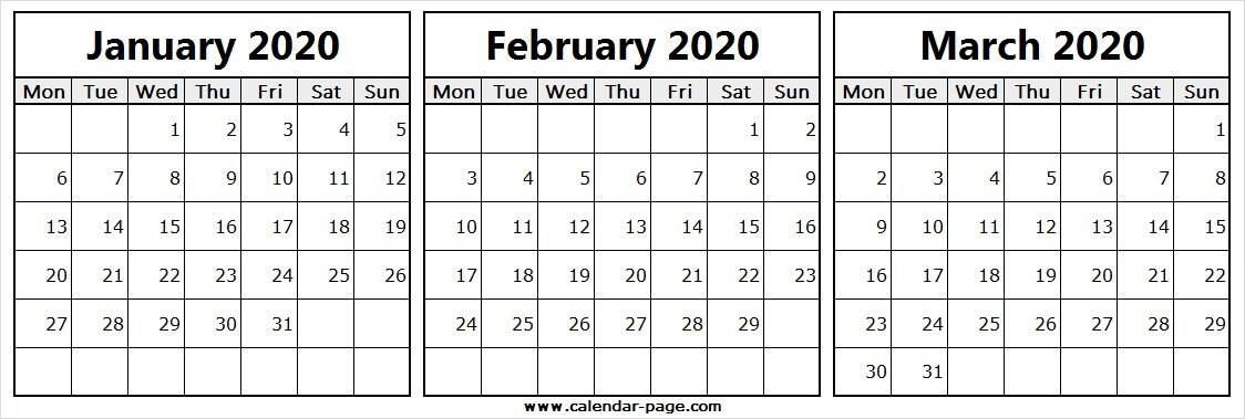 Three Month Calendar January February March 2020 | Free Calendar regarding Triple Month Printable Calendar Image