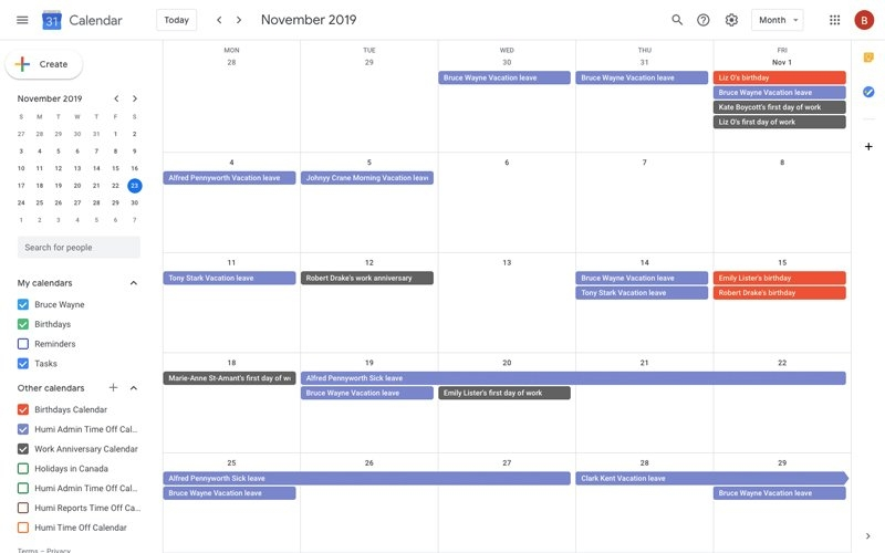Time Off Manager - Vacation Tracking Software | Humi throughout Calendar To Track Employee Time Off Photo