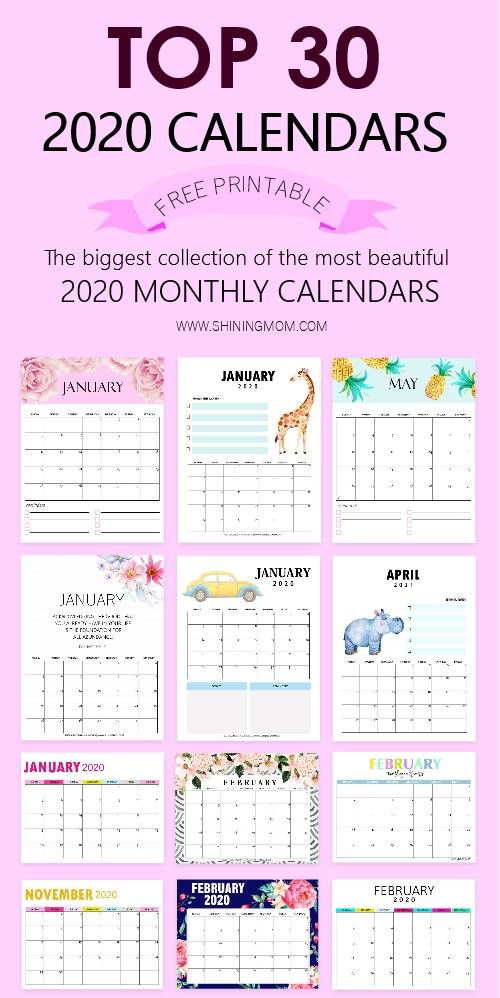 Top 30 Printable Calendars 2020 To Download For Free! with regard to Free Printable Calendars