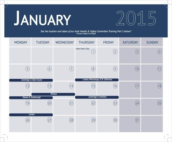 Training Calendar Template - 36+ Free Word, Pdf, Psd in Monthly Training Calendar Format