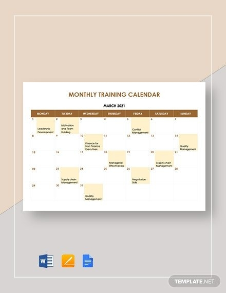 Training Calendar Template - 36+ Free Word, Pdf, Psd with Monthly Training Calendar Format