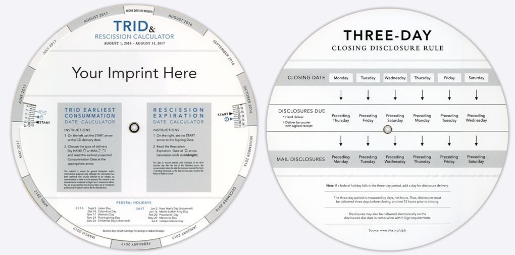 Trid & Rescission Calculator | Paper Spinners, Chart, Imprinting intended for Trid Closing Calendar Rules Graphics