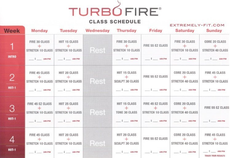 Turbo Fire Reviews: Calendar And Fitness Guide | Extremely-Fit inside Turbo Jam Calendar Download Photo