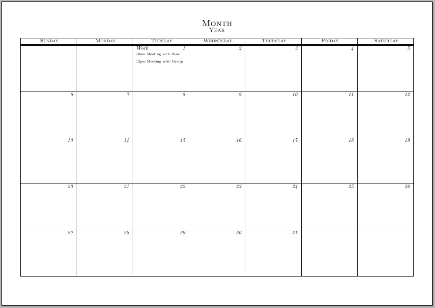 Typeset Calendar But With The Ability To Write Notes And inside Calander You Can Write In