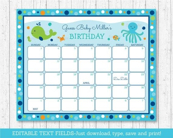 Under The Sea Baby Due Date Calendar / Under The Sea Baby inside Baby Due Date Print Out