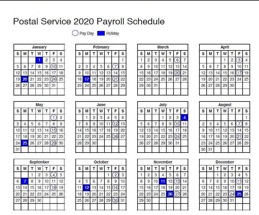Usps Calendar: 2020 Payroll Schedule And Holidays inside Federal Government Pay Period Calendar 2020
