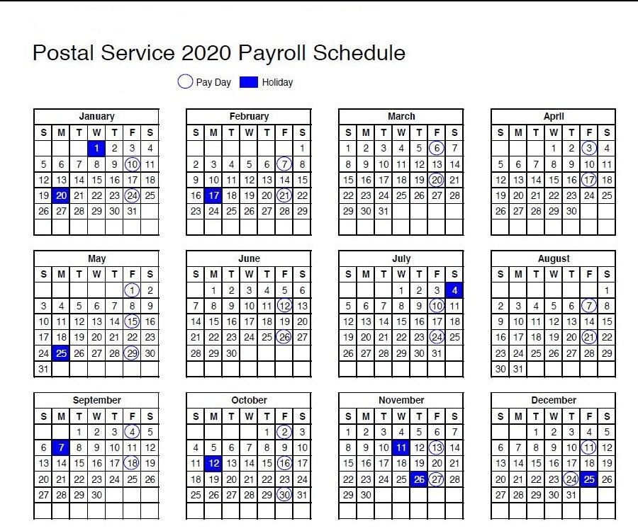Usps Calendar: 2020 Payroll Schedule And Holidays inside State Of Michigan Payroll Calendar