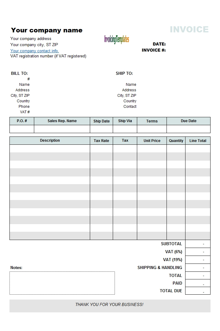 Vat Invoicing Template With Vat Rate And Amount Column inside Calendar And Invoicing Templates