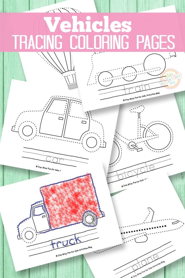 Vehicle Tracing Coloring Pages throughout Itsy Bitsy Fun Calendar Photo