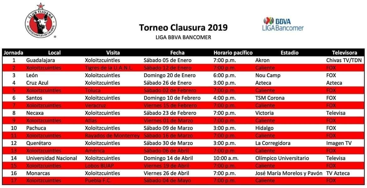 Video Cadena Deportes: Previo Calendario Xolos Clausura 2019 inside Xolos De Tijuana Calendario