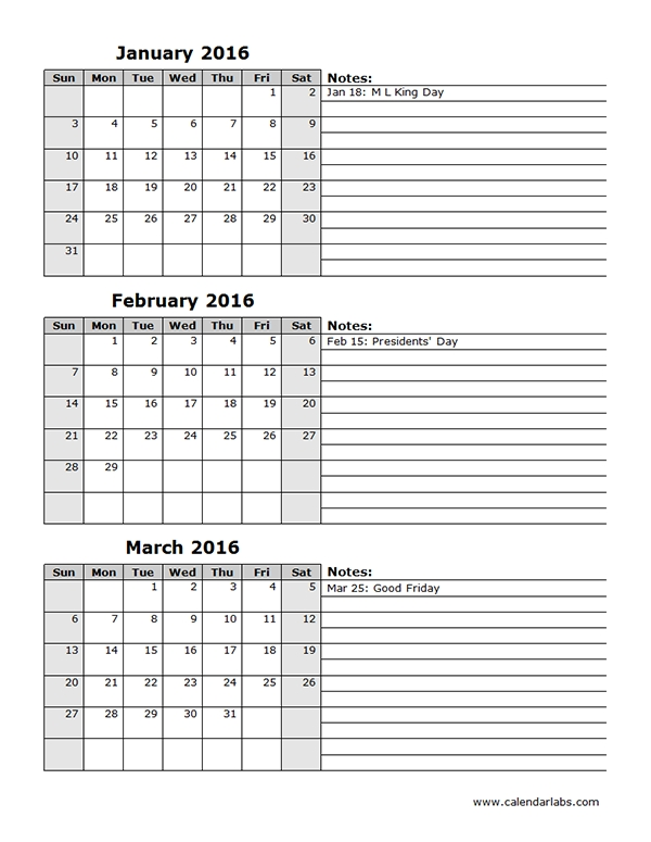 View Calendar: 2016 Three Month Calendar Template 12L within Triple Month Printable Calendar Image