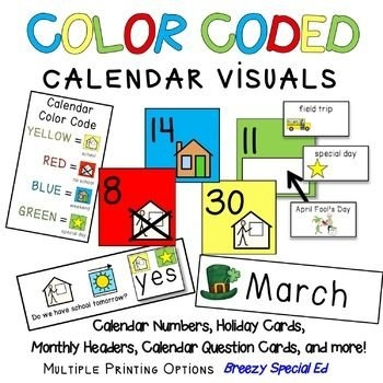 Visual Color Coded Calendar Numbers And Visuals For Special pertaining to Color Coded Calendar Months Image
