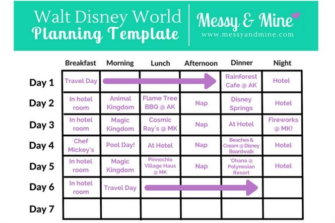 Walt Disney World Planning Template Example, Walt Disney intended for Disney World Planning Calandr Template