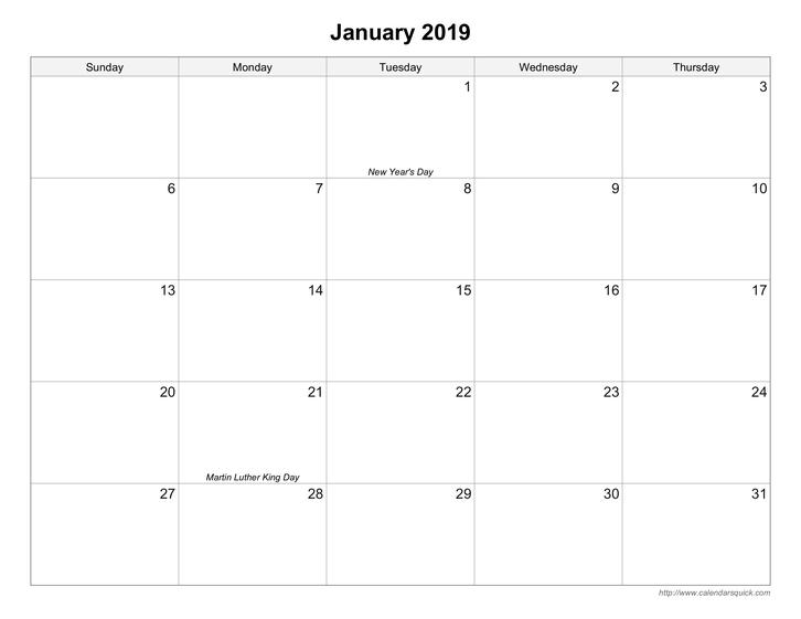 Weekday Calendar inside Printable Calendar Weekdays Only