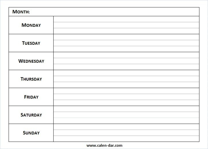 Weekly Calendar Archives | Printable Calendar intended for Blank Sunday Thru Sunday Schedule Graphics