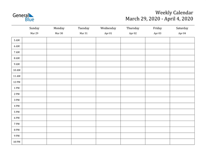 Weekly Calendar - March 29, 2020 To April 4, 2020 - (Pdf pertaining to Printable Weekly Calendar With 15 Minute Time Slots