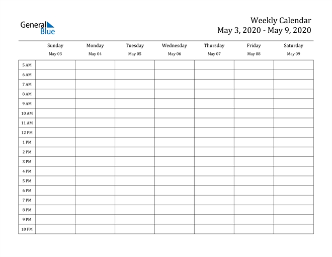 Weekly Calendar - May 3, 2020 To May 9, 2020 - (Pdf, Word for Calendar With Time Slots Image