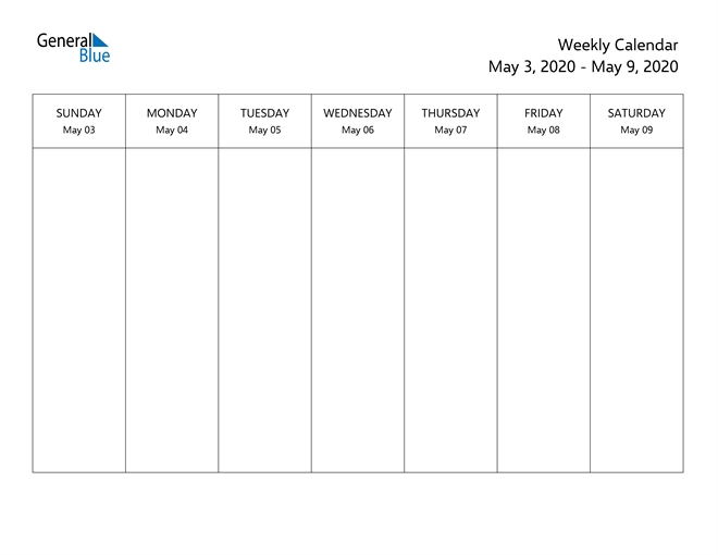 Weekly Calendar - May 3, 2020 To May 9, 2020 - (Pdf, Word in Printable Monthly Calendar With Time Slots