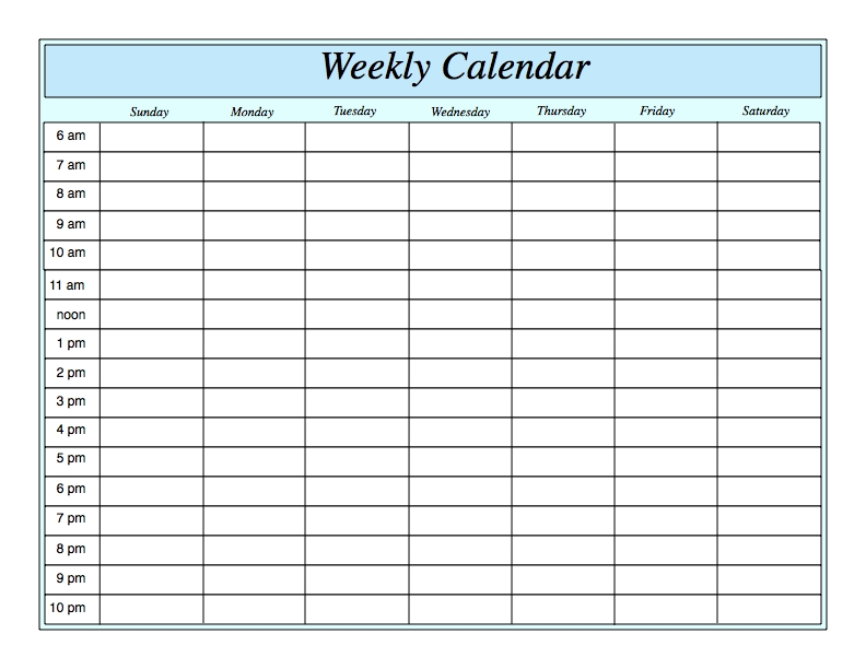 Weekly Calendar With Hours Printable | Weekly Planner in Blank Weekly Calendars With Times Photo