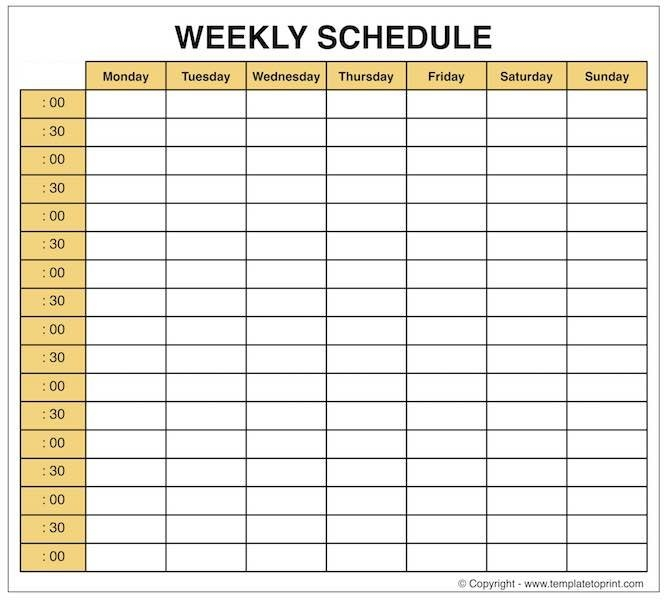 Weekly Planner - Blank Weekly Calendar Template With Time Slots throughout Blank Weekly Calendars With Times Photo