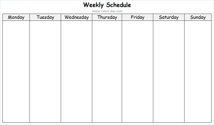 Weekly Schedule Maker Template | Weekly Planner Blank Format for Weekly Sunday-Saturday Schedule