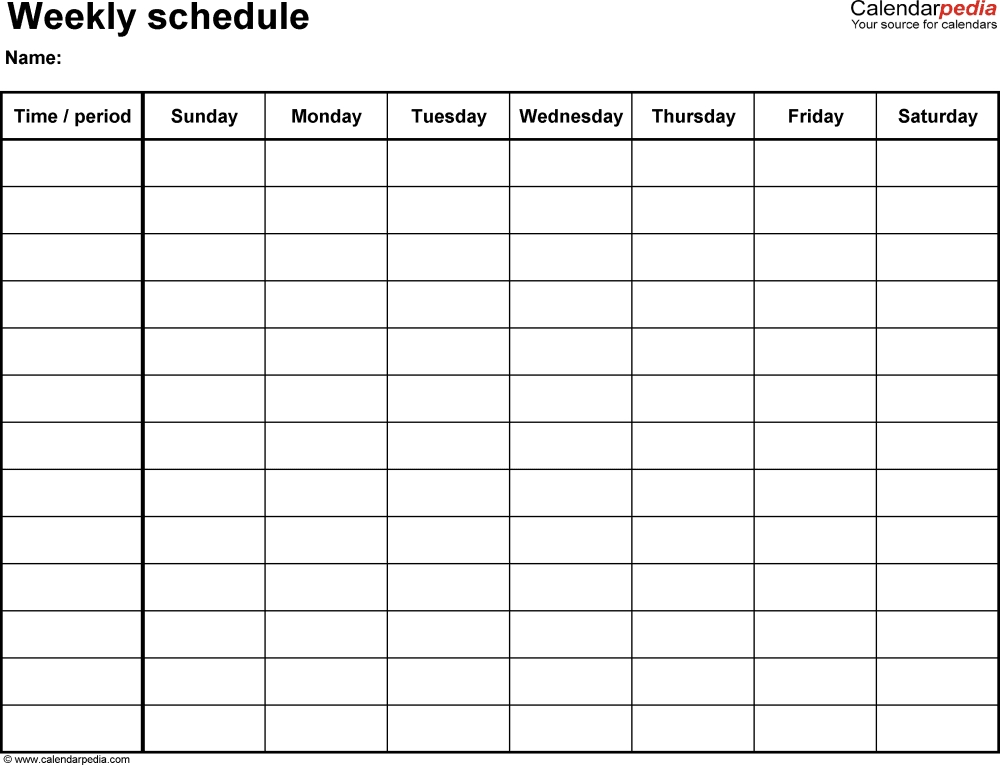 Weekly Schedule Template For Word Version 14: Landscape, 1 intended for Sunday Through Sunday Calendar With Hours